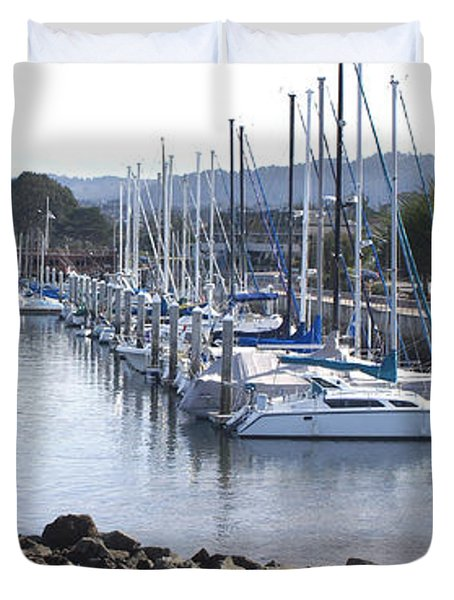 Boat Dock And Big Rocks Right Duvet Cover by Barbara Snyder