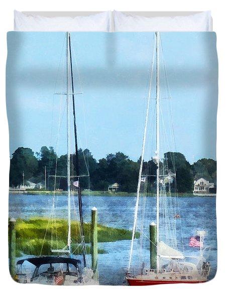 Boat - Two Docked Sailboats Norwalk Ct Duvet Cover by Susan Savad