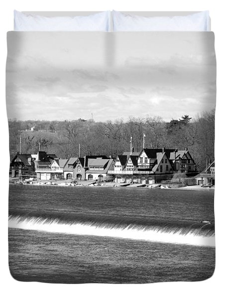 Boathouse Row winter b/w Duvet Cover by Jennifer Lyon