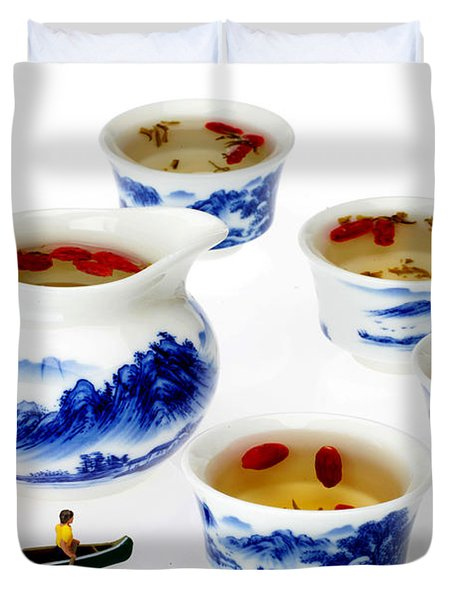 Boating Among China Tea Cups Little People On Food Duvet Cover by Paul Ge