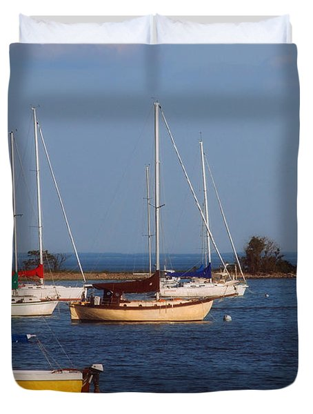Boating On Long Island Sound Duvet Cover by Joann Vitali