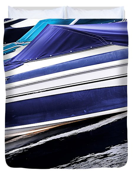 Boats And Reflections Duvet Cover by Elena Elisseeva