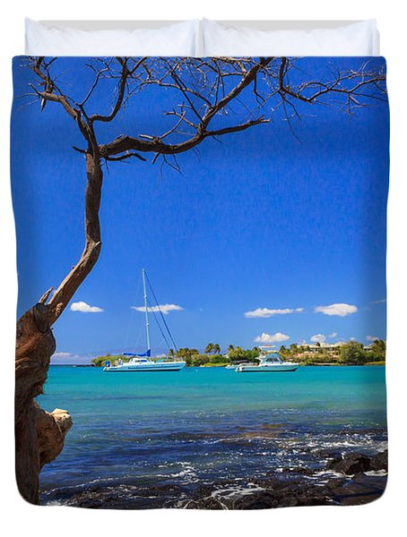 Boats At Anaehoomalu Bay Duvet Cover by James Eddy