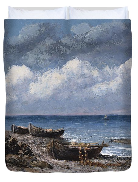 Boats At St Aubain Duvet Cover by Gustave Courbet