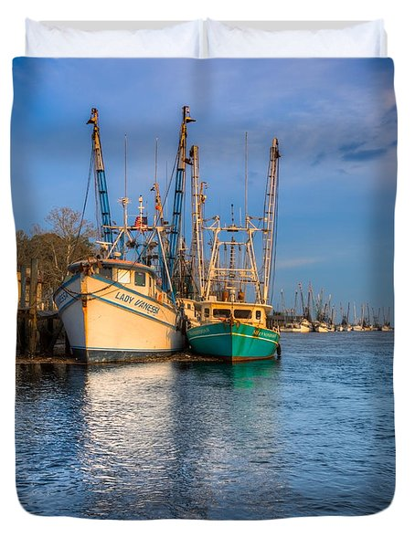 Boats In Blue Duvet Cover by Debra and Dave Vanderlaan