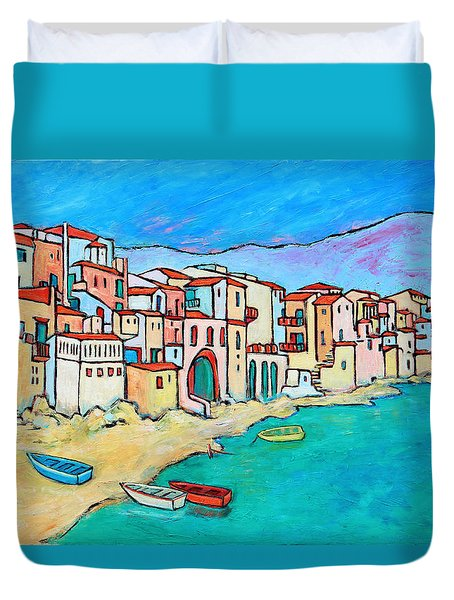 Boats In Front Of Buildings VIII Duvet Cover by Xueling Zou
