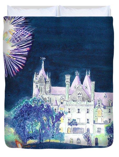 Boldt Castle Fireworks Duvet Cover by Robert P Hedden