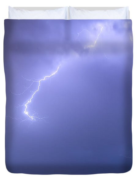 Bolts Of Lightning Arcing Through The Night Sky Duvet Cover by James BO  Insogna