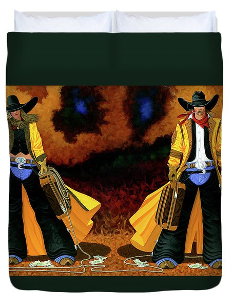 Bonnie And Clyde Duvet Cover by Lance Headlee
