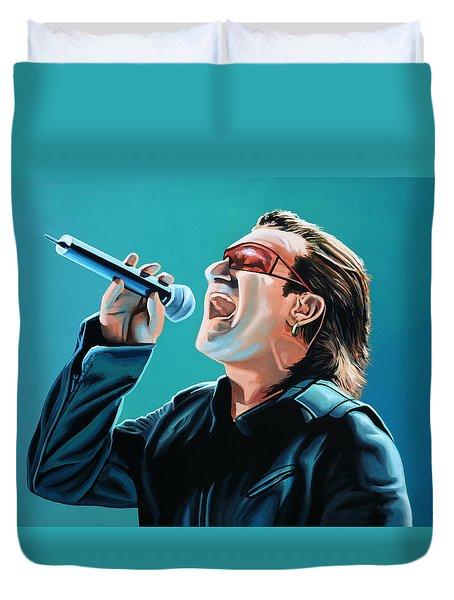 Bono Of U2 Painting Duvet Cover by Paul Meijering