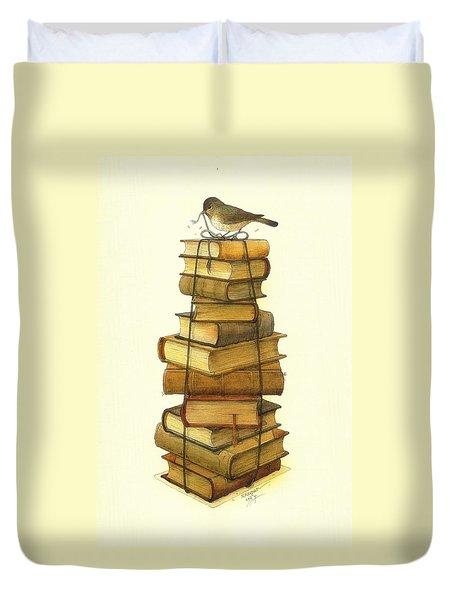 Books And Little Bird Duvet Cover by Kestutis Kasparavicius