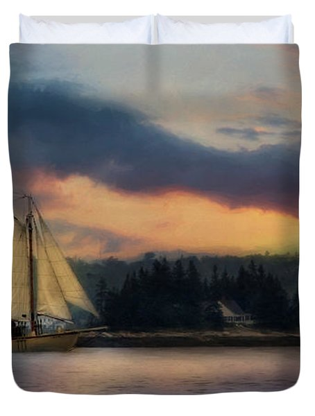 Boothbay Harbor Schooner Duvet Cover by Lori Deiter