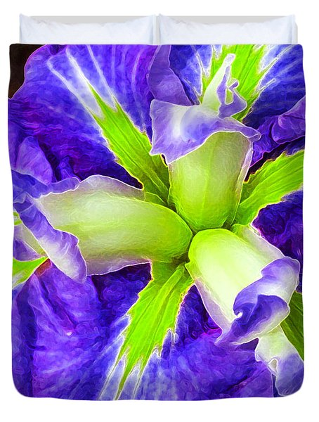 Boothbay Violet With Chartreuse Duvet Cover by Bill Caldwell -        ABeautifulSky Photography