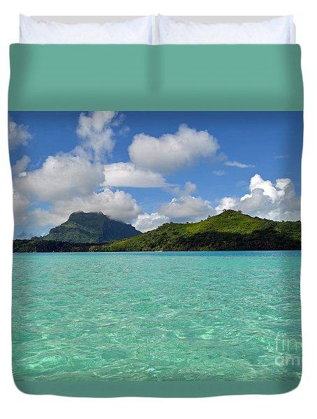 Bora Bora Green Water Duvet Cover by Eva Kaufman