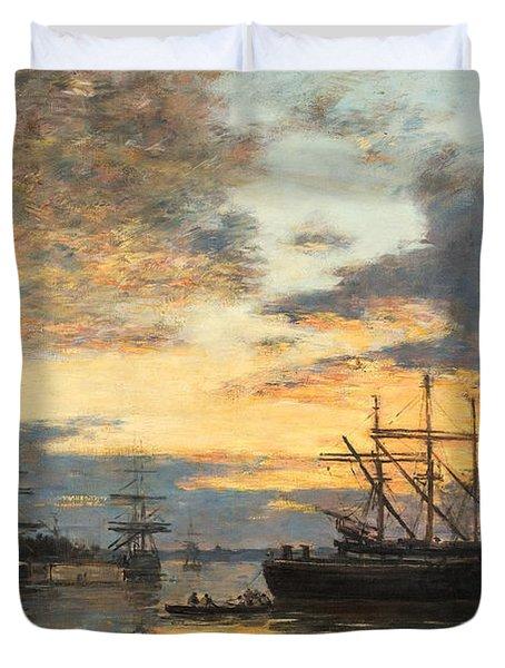 Bordeaux In The Harbor Duvet Cover by Eugene Louis Boudin
