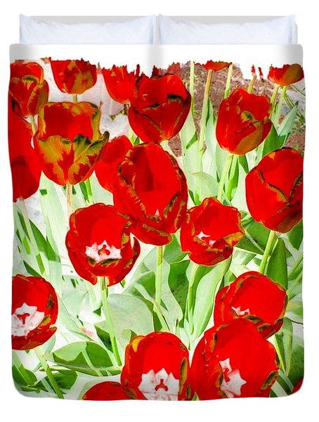 Bordered Red Tulips Duvet Cover by Will Borden
