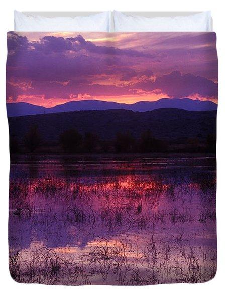 Bosque Sunset - Purple Duvet Cover by Steven Ralser