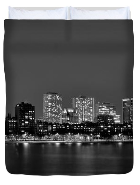 Boston Back Bay Skyline at Night Black and White BW Panorama Duvet Cover by Jon Holiday