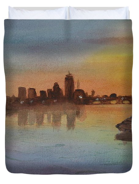 Boston Charles River At Sunset  Duvet Cover by Donna Walsh