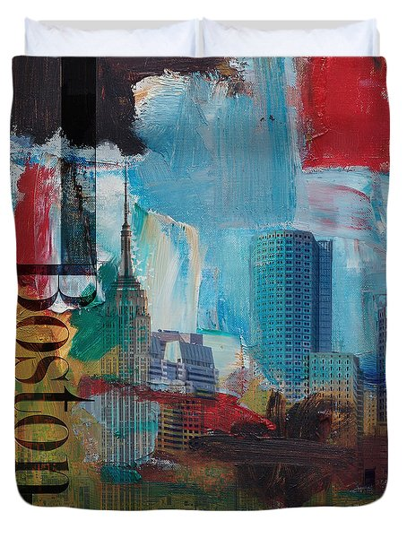 Boston City Collage 3 Duvet Cover by Corporate Art Task Force