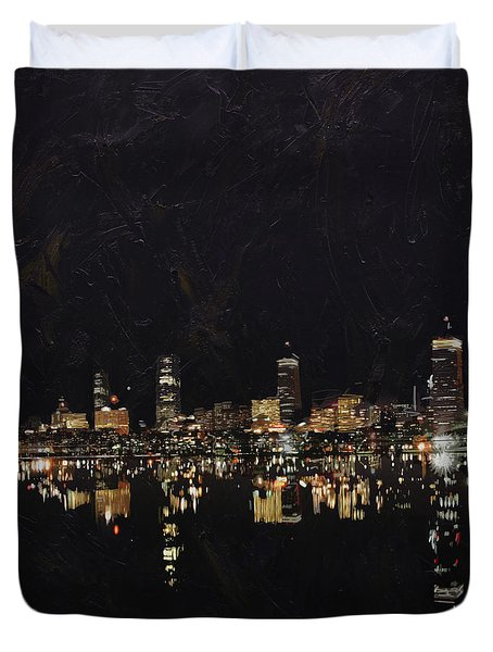 Boston City Skyline 2 Duvet Cover by Corporate Art Task Force
