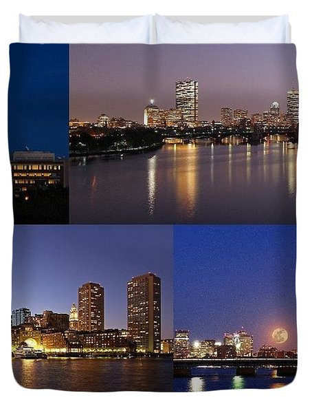 Boston City Skyline Duvet Cover by Juergen Roth