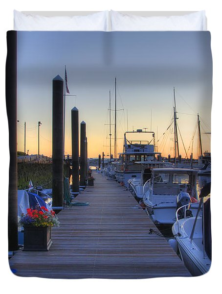Boston Dock Sunrise Duvet Cover by Joann Vitali