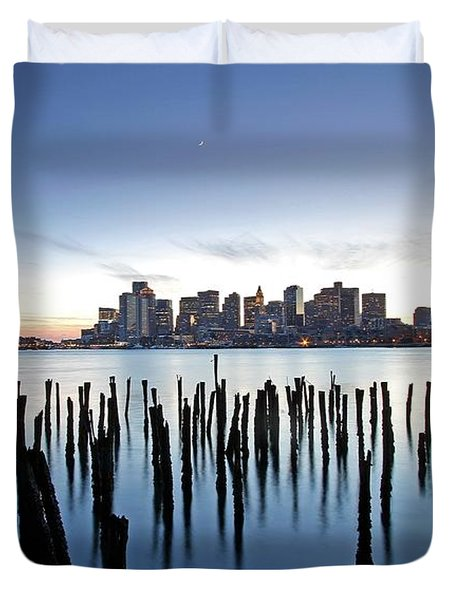 Boston Harbor Skyline with ICA Duvet Cover by Juergen Roth