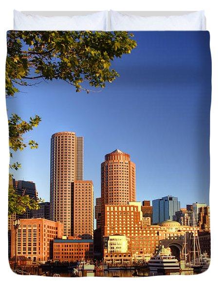 Boston Harbor Sunrise Duvet Cover by Joann Vitali