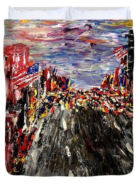 Boston Marathon  Duvet Cover by Mark Moore