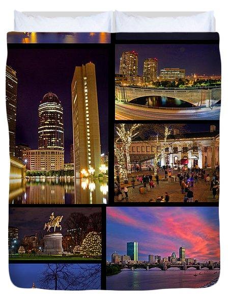 Boston Nights Collage Duvet Cover by Joann Vitali