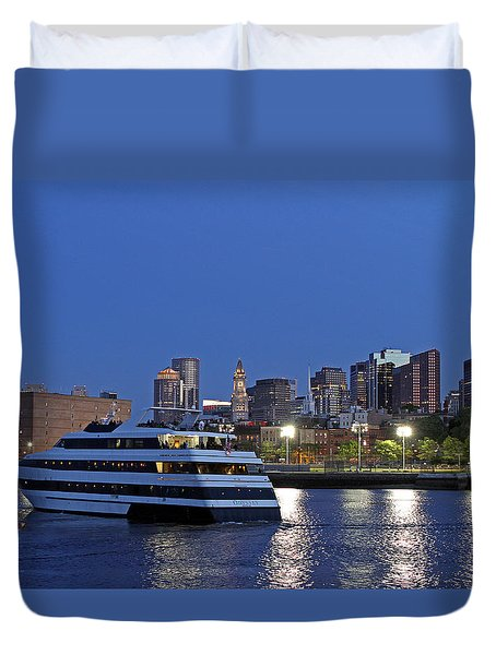Boston Odyssey Cruise Ship Duvet Cover by Juergen Roth