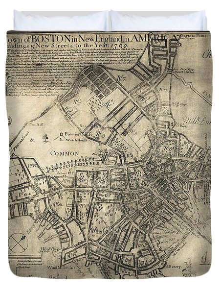 BOSTON of BRITISH DOMINION MAP  1769 Duvet Cover by Daniel Hagerman