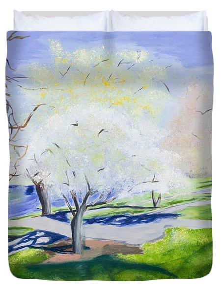 Boston Public Garden Duvet Cover by Carmela Cattuti