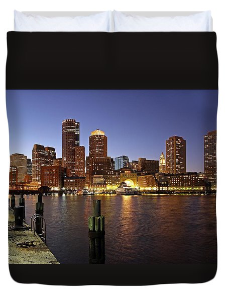 Boston Skyline and Fan Pier Duvet Cover by Juergen Roth