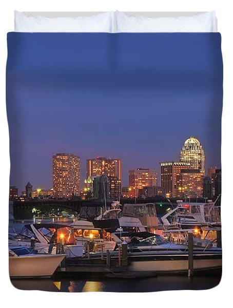 Boston Skyline In Blue And Gold Duvet Cover by Joann Vitali