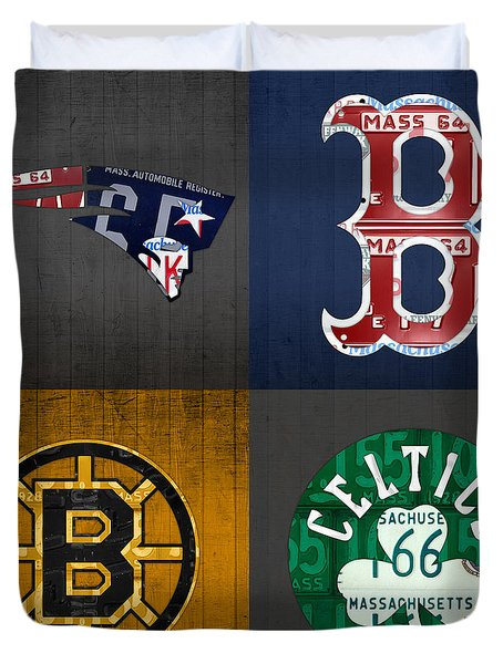 Boston Sports Fan Recycled Vintage Massachusetts License Plate Art Patriots Red Sox Bruins Celtics Duvet Cover by Design Turnpike