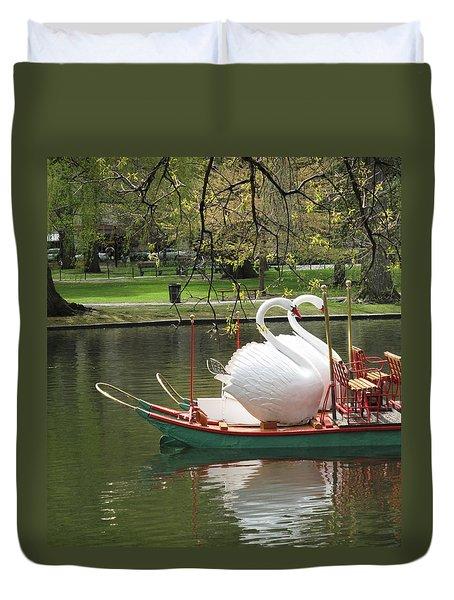 Boston Swan Boats Duvet Cover by Barbara McDevitt
