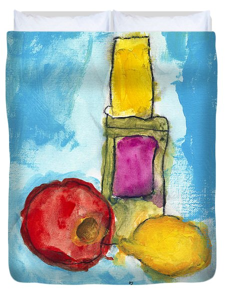 Bottle Apple And Lemon Duvet Cover by Skip Nall
