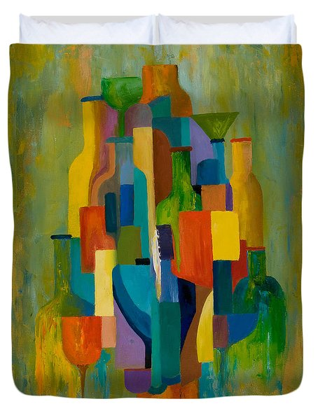 Bottles and Glasses Duvet Cover by Larry Martin