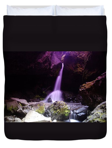 Boulder Cave Falls Duvet Cover by Jeff  Swan