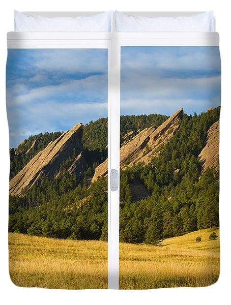 Boulder Colorado Flatirons White Window Frame Scenic View Duvet Cover by James BO  Insogna