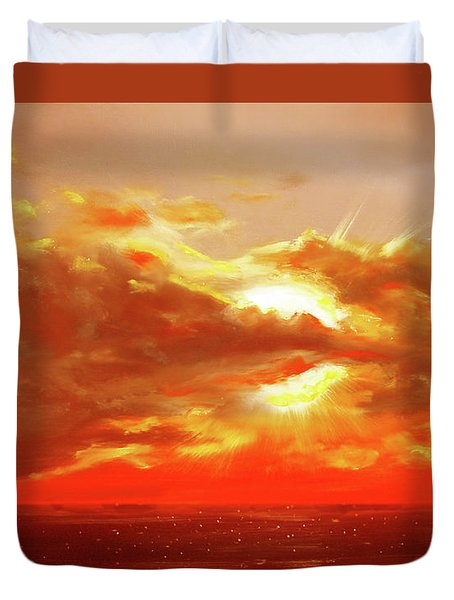 Bound Of Glory - Red Sunset  Duvet Cover by Gina De Gorna