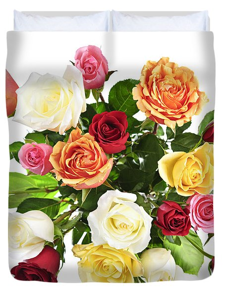 Bouquet Of Roses From Above Duvet Cover by Elena Elisseeva