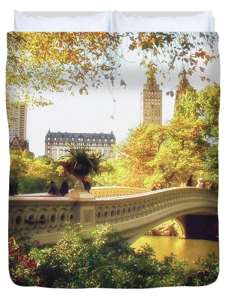 Bow Bridge - Autumn - Central Park Duvet Cover by Vivienne Gucwa