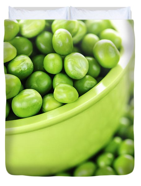 Bowl of green peas Duvet Cover by Elena Elisseeva