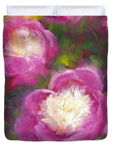 Bowls Of Beauty - Alaskan Peonies Duvet Cover by Talya Johnson