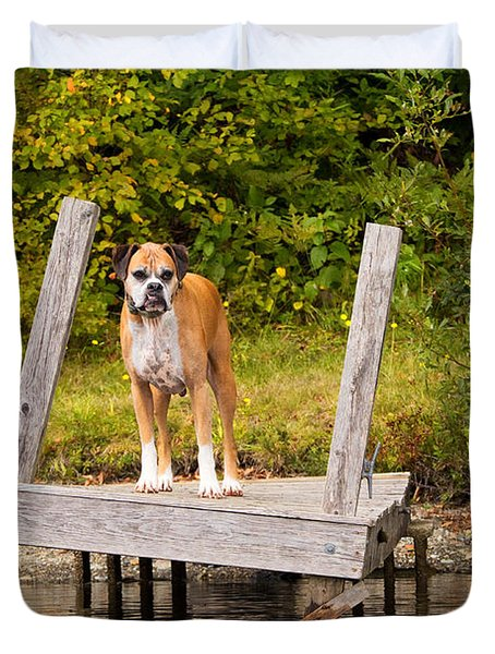 Boxer On Lake Dock Duvet Cover by Stephanie McDowell