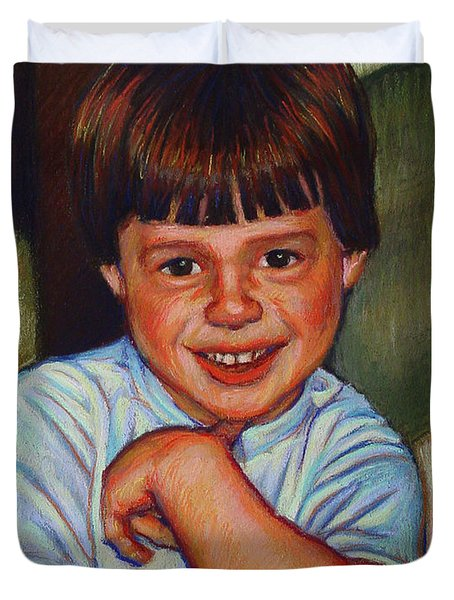 Boy in Blue Shirt Duvet Cover by Kenneth Cobb