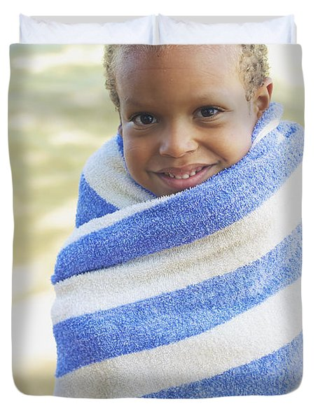 Boy in Towel Duvet Cover by Kicka Witte